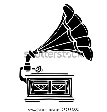 Gramophone closeup, black music icon isolated on white background  - stock photo