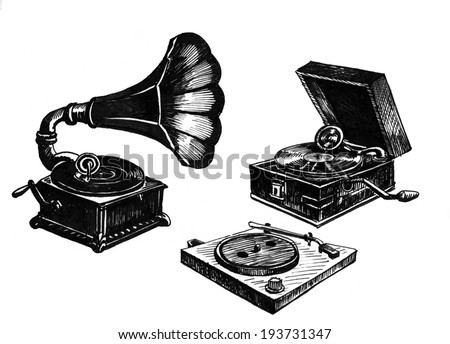 gramophone. hand drawing. vintage engraved illustration - stock photo