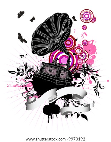 Gramophone on grunge floral background, illustration. - stock photo