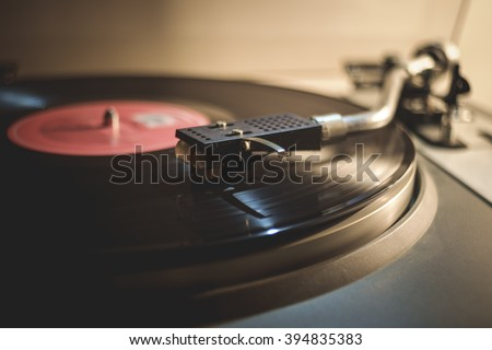 Gramophone player close up - stock photo