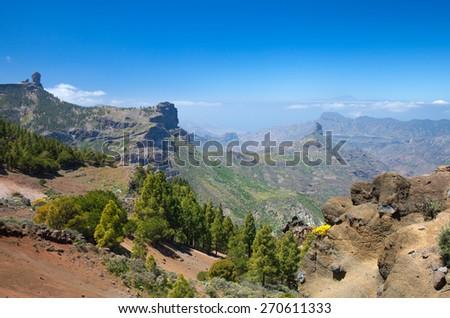 Gran Canaria, Caldera de Tejeda, Roque Nublo and Roque Bentayga visible - stock photo