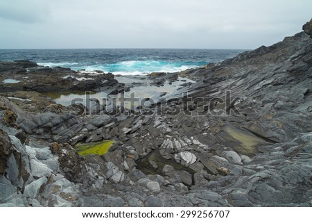 Gran Canaria, north west coast at Banaderos area, old lava field - stock photo