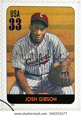 GRANADA, SPAIN - DECEMBER 1, 2015: A stamp printed in USA dedicated to Legends of Baseball shows Josh Gibson, 2000 - stock photo