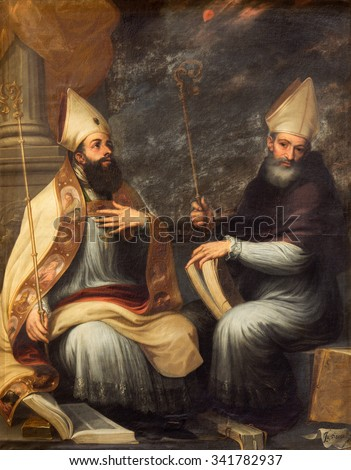 GRANADA, SPAIN - MAY 29, 2015: The paint of St. Ambrose and St. Augustine the Doctors of the west catholic church in the church Monasterio de San Jeronimo by Juan de Sevilla Romero (1643 - 1695).   - stock photo