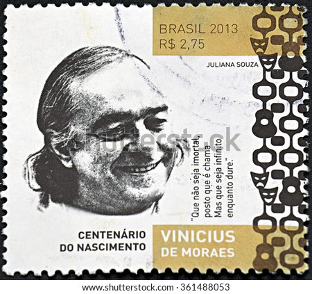 GRANADA, SPAIN - NOVEMBER 30, 2015: A stamp printed in Btrazil shows Vinicius de Moraes, 2013 - stock photo