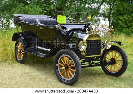 GRANBY QUEBEC CANADA JULY 29 2013: The Ford Model T is an automobile that was produced by Henry Ford's Ford Motor Company from October 1, 1908, to May 26, 1927 - stock photo