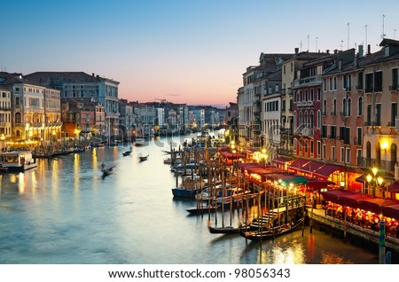Grand Canal after sunset, Venice - Italy. - stock photo