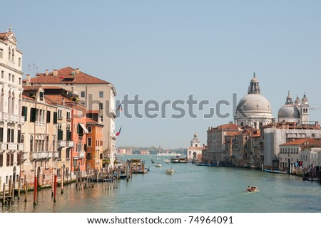 Grand Canal and Basilica di Santa Maria della Salute in Venice, Italy - stock photo