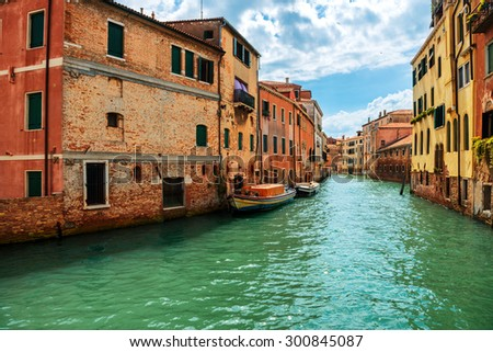 Grand Canal and Basilica Santa Maria della Salute in sunny day. Venice, Italy. Sunny day  - stock photo
