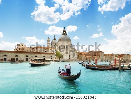Grand Canal and Basilica Santa Maria della Salute, Venice, Italy and sunny day - stock photo