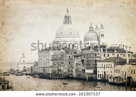 Grand Canal at Venice, Italy. Old black and white photo effect applied. - stock photo