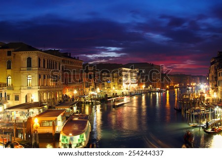 Grand Canal in the night, Venice, Italy - stock photo