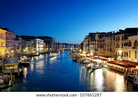 Grand Canal in Venice, Italy at sunset - stock photo