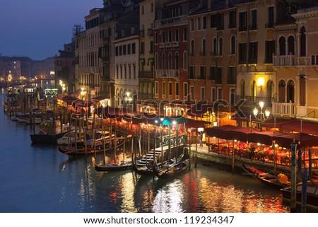 Grand Canal Lights at Night, Venice. Horizontal shot - stock photo