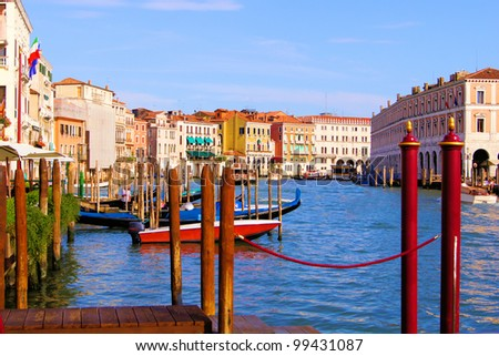Grand Canal of Venice at dusk from the Cannaregio neighborhood - stock photo