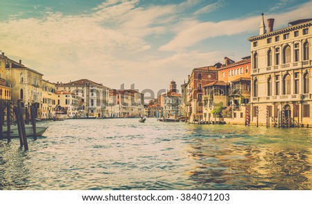 Grand Canal scenery with a gondola in antique Venice, Italy - stock photo