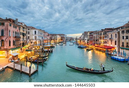 Grand Canal view at night from the Rialto Bridge, Venice, Italy - stock photo