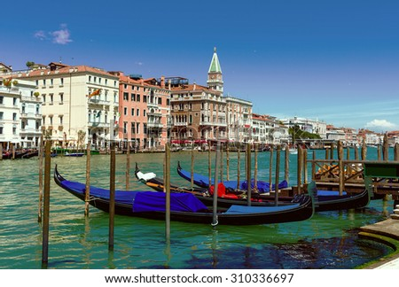 Grand Canal with gondolas in Venice. Italy - stock photo