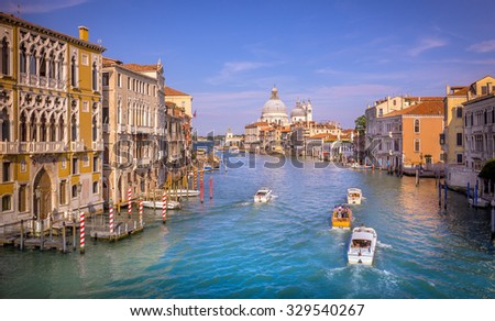 Grand Canal with view on Saint Mary of Health cathedral in Venice, Italy - stock photo