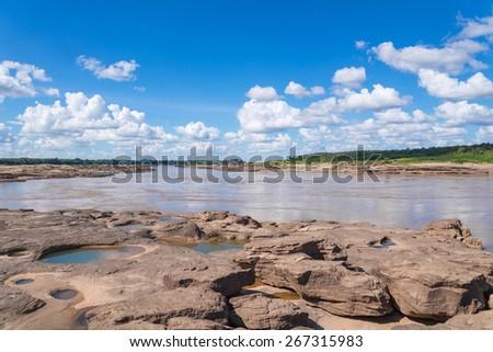 Grand Canyon amazing of rock in Mekong river, Ubonratchathani Thailand - stock photo
