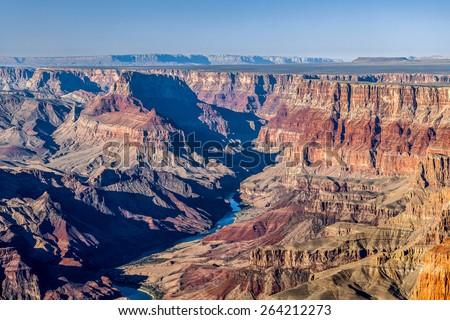 Grand Canyon and Colorado River at sunset, South Rim, Arizona, U - stock photo