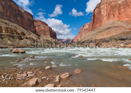 Grand Canyon and the Colorado River near Kwagunt Rapid - stock photo