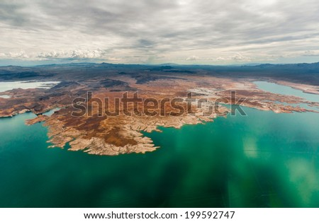 Grand Canyon cliff rim sea western near las vegas taken from helicopter - stock photo