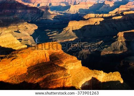 grand canyon hopi point sunrise - stock photo