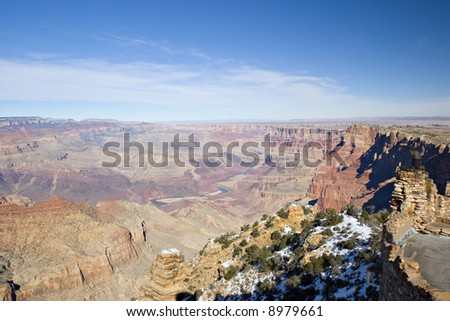 Grand Canyon in Winter as seen from Desert View Point, Arizona - stock photo