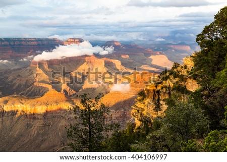 Grand Canyon National Park at dusk, Arizona, USA - stock photo