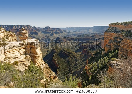 Grand Canyon National Park in the daylight - stock photo