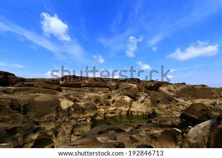 Grand Canyon of Thailand or 3000 pit on ground or 3000 Boke at Ubonratchathani, Thailand. - stock photo