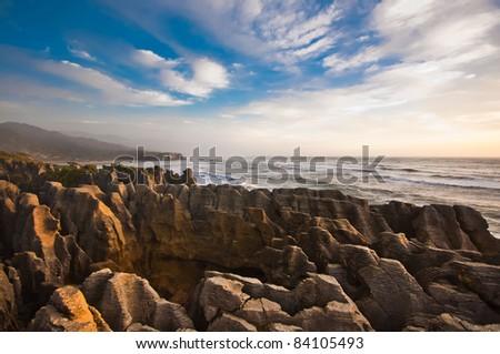Grand Canyon Pancake rock at west coast of New Zealand - stock photo