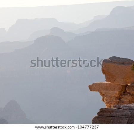 Grand Canyon silhouette - stock photo