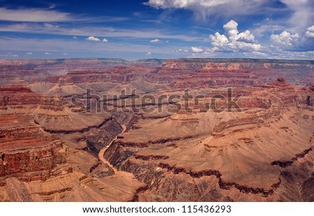 Grand Canyon South Rim Overlook with a view of the Colorado River below - stock photo