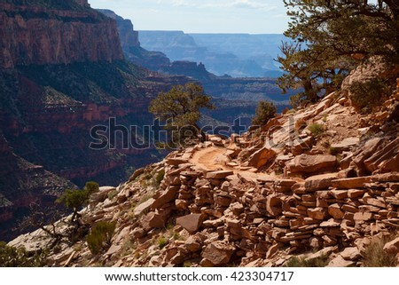 Grand Canyon trail on south rim - stock photo