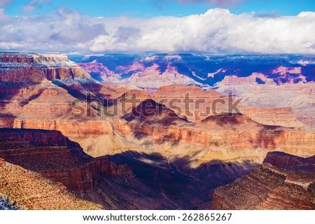 Grand Canyon Vista. Scenic Winter Grand Canyon of Colorado Landscape. Arizona, United States. - stock photo