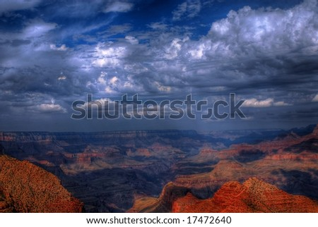 Grand Canyon with a storm approaching - stock photo