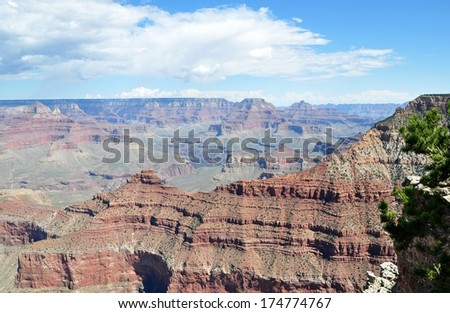Grand Canyon with blue sky 9 - stock photo