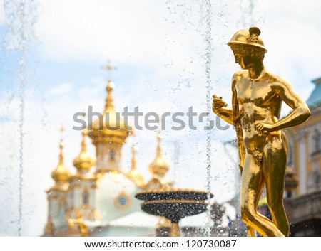 Grand cascade fountains at Peterhof palace, St.Petersburg, Russia. - stock photo