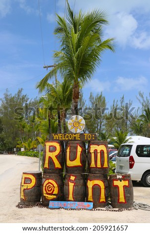 GRAND CAYMAN - JUNE 11: The Rum Point Grand Cayman on June 11, 2014. Located on the tranquil North Side of Grand Cayman, Rum Point is a popular and safe family getaway with idyllic surroundings - stock photo