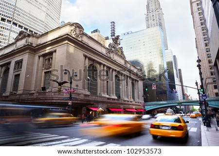 Grand Central along 42nd Street with traffic, New York City - stock photo