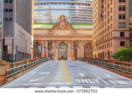 Grand Central Terminal viaduc and old entrance in New York - stock photo