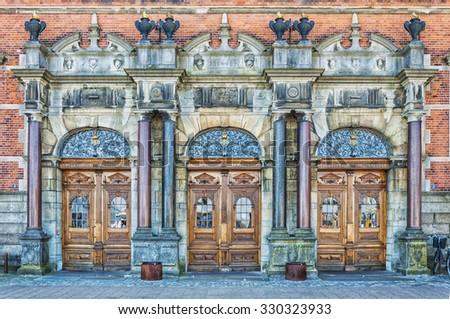 Grand entrance to the train station in Helsingor, Denmark. - stock photo