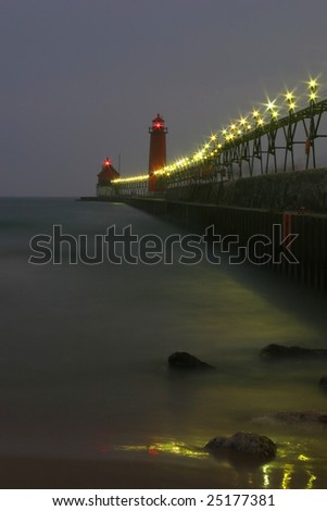 grand haven lighthouse - stock photo