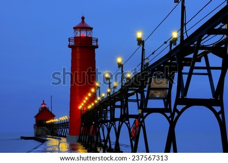 Grand Haven Pier Lighthouse at Sunrise - stock photo