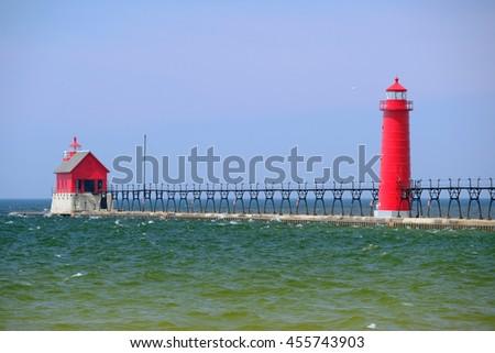 Grand Haven South Pierhead Inner Light, built in 1905, Lake Michigan, MI, USA - stock photo