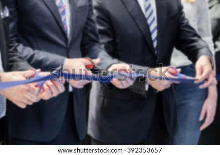 grand opening activities and cutting rope, blurred action on the move,blur effect - stock photo
