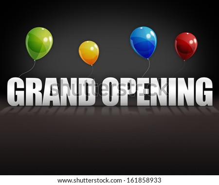 Grand opening balloons on dark 3D stage background - stock photo