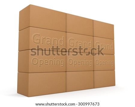 Grand Opening design for packaging or shipping services - stock photo